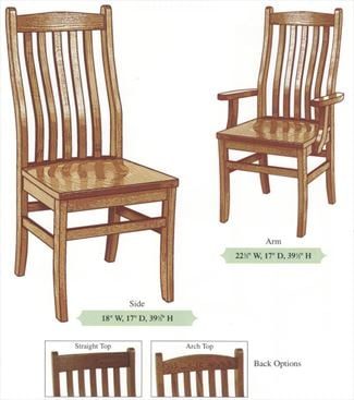 Amish Handmade Hardwood Classic Chairs-Five Slat Bent Back Tapered Leg Arm & Side Chairs