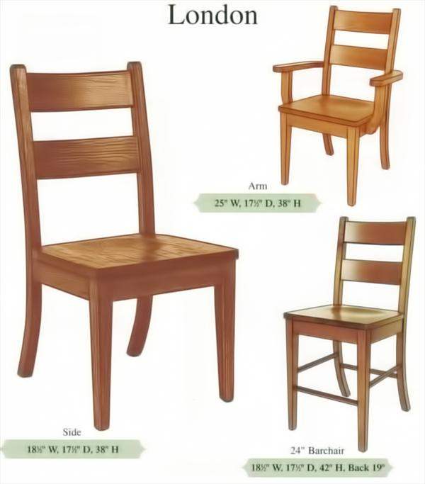 Amish Handmade Hardwood Classic Chairs-Two Slat Curved Back Tapered Leg Arm & Side Chairs