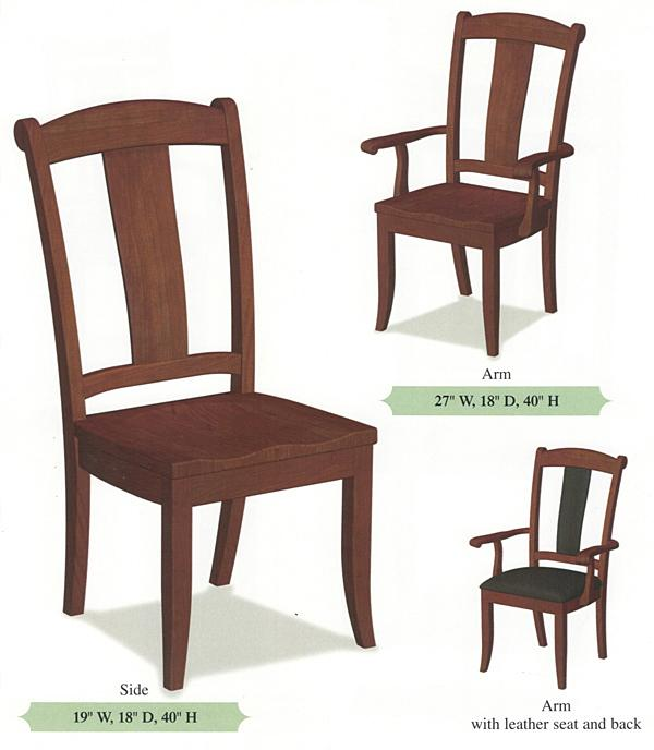 Amish Handmade Hardwood Chairs-Single Slat Bent Back Shaker Tapered Leg Arm & Side Chairs