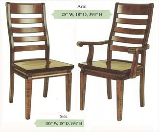 Amish Handmade Hardwood Chairs-Four Slat Contoured Ladder Back Shaker Tapered Leg Arm & Side Chairs