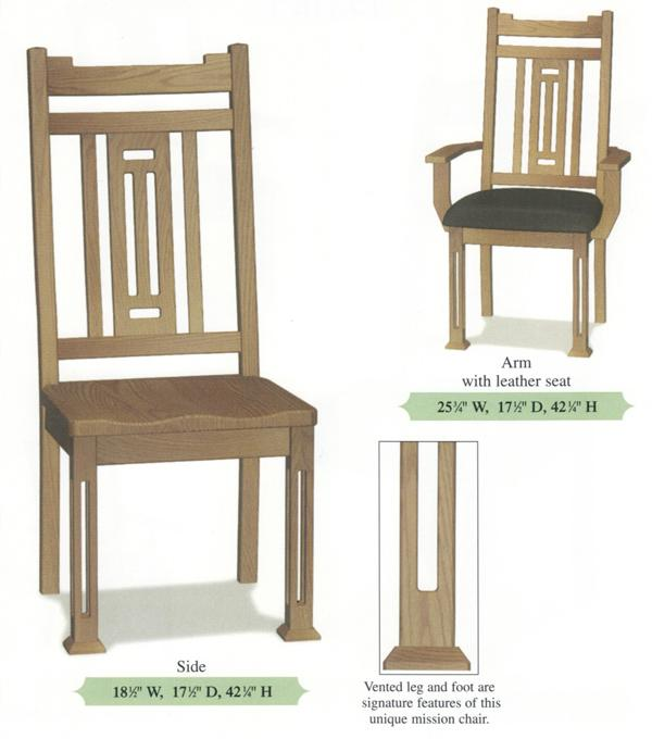 Amish Handmade Modern Vented Back Hardwood Chairs- Vented Leg Arm & Side Chairs