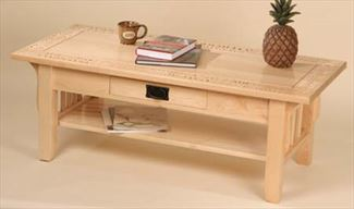 Amish Coffee Table-Amish Carved Rock Maple Coffee Table-P Graham Dunn