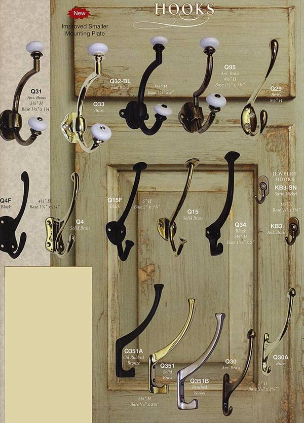 A selection of hooks available when a hall tree or rack is purchased.