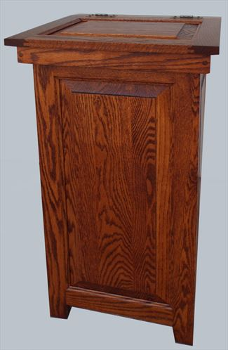 Attrayant Wood Kitchen Economy Trash Can Amish Oak Hinge Top 20 Gal. Trash Can