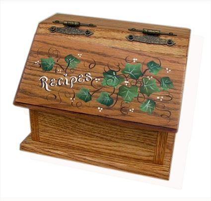 Amish Recipe Box IVY Oak Painted Hardwood