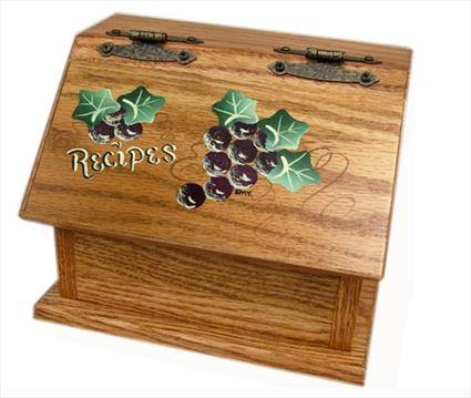 Amish Recipe Box GRAPES Oak Painted Hardwood