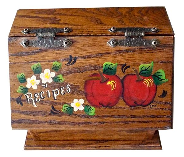 Amish Recipe Box APPLES Oak Painted Hardwood