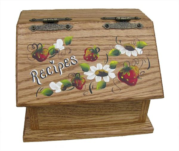 Amish Recipe Box STRAWBERRIES Oak Painted Hardwood