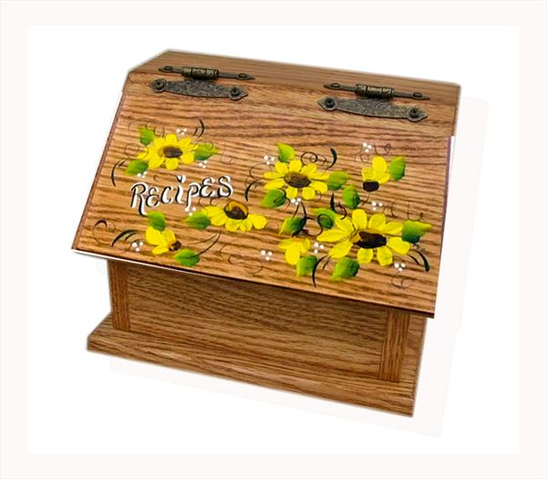 Amish Recipe Box SUNFLOWER Oak Painted Hardwood