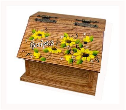 Amish Recipe Box WHEAT Oak Painted Hardwood