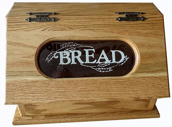 Amish Bread Box Painted Clear Window Hardwood Oak
