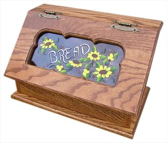 Amish Bread Box Painted Daisies Clear Window Hardwood Oak