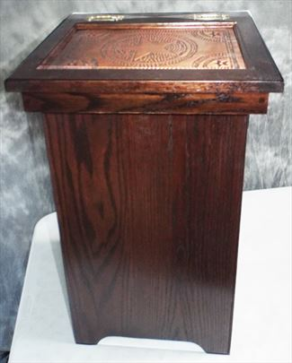 Amish Furniture Oak Hinged Solid Panel Top Trash Container Bin 20 gal with Copper Hammered Top Pattern