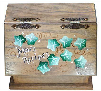 AMISH Recipe Box Hand Painted Moms's Recipes Ivy Vine Oak hardwood Handmade