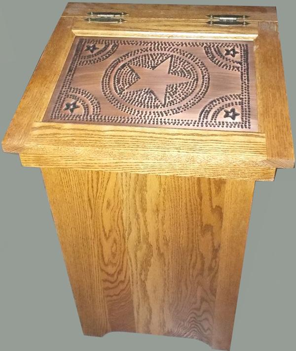Amish Furniture Oak Lift Solid Panel Top Trash Container Bin 20 gal with Copper Hammered Top Pattern