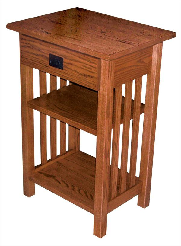 Amish Mission Large Phone Stand With Drawer Oak Hardwood 30 Inches High X 20 Width