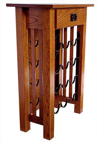 Amish Mission Wine Stand with Drawer 36 inches high x 24 1/2 inches width
