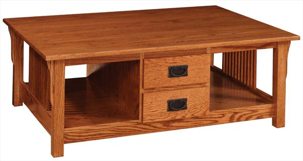 Amish Prairie Mission Coffee Table With Two Drawers 18 Inches High X 40  Inches Width