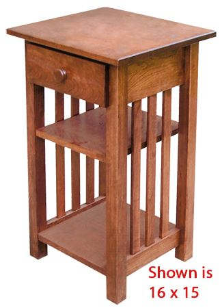 Amish Mission Small Phone Stand with Drawer Oak Hardwood 30 inches high x16 inches width-