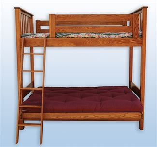 Amish Youth Mission Loft Bed and Futon Bed