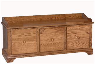 Amish Three Drawer STORAGE Bench 50 inch Wide Oak Choice of Stain