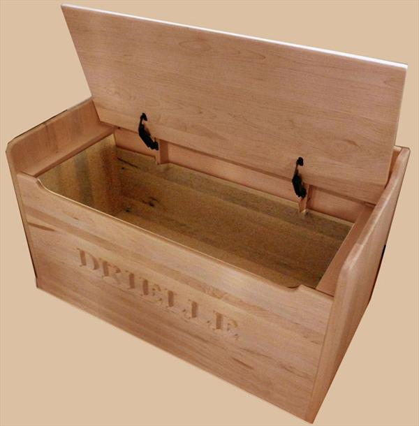 Amish Hardwood Bench Toy Box Solid Oak Chest Two Safety Hinges