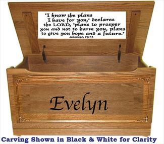 Wood Toy Box-chest-Amish TOY Chest flat top Personalized with Verse Jer.29:11