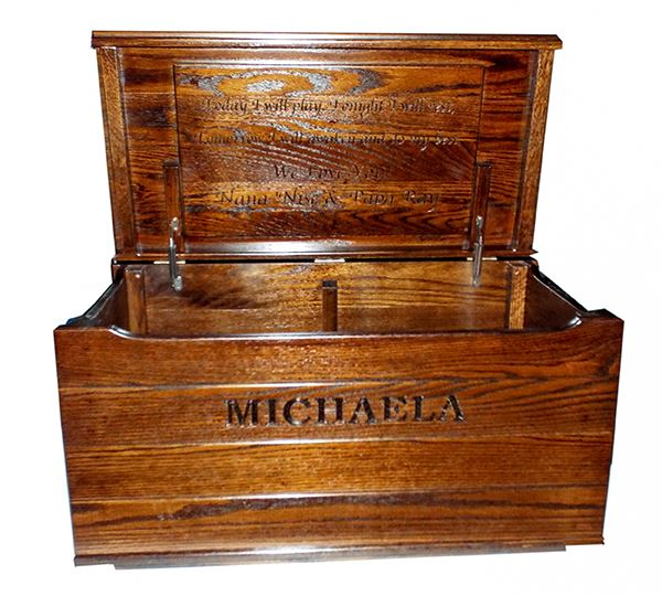 Treasure Chest Oak Toy Box- Nautical-FLAT top-Safety Hinges with Inside Verse Board