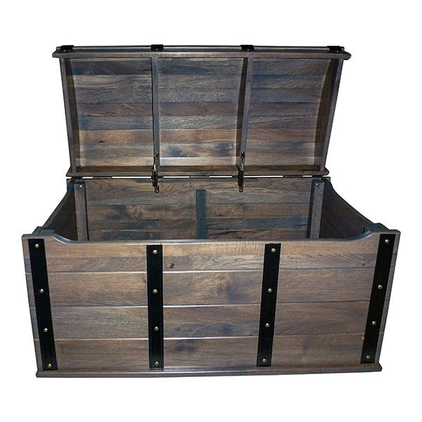 Treasure Chest HICKORY RUSTIC Nautical Amish Round Tx Chest Deluxe