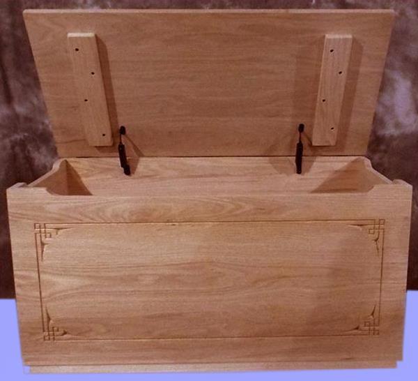 Amish Plain Border Front OAK Wood Toy Box-Chest-Amish-Carved