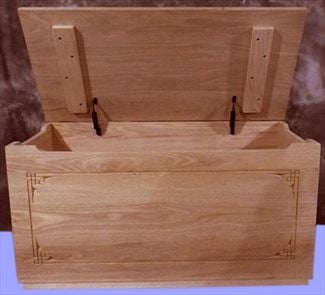 Amish Plain Border Front OAK Wood Toy Box-Chest-Amish-Carved