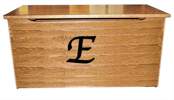 Plain Front with Initial HARDWood Toy Box-Chest-Amish-Carved OAK