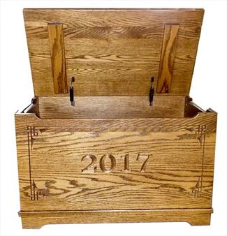 Amish 2017 DATE Front OAK Wood Toy Box-Chest-Amish All Hardwwod Anti-Slam Hinges