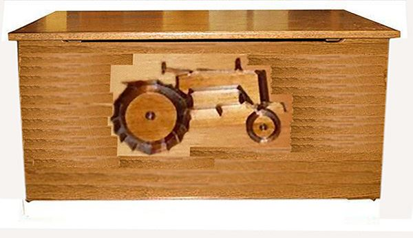 Tractor HardWood Oak Toy Box-Chest-Amish-Carved