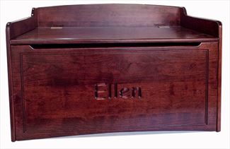 Amish Hardwood BROWN MAPLE Handmade Bench Toy box Solid Oak CHERRY Finish Name Chest Two Safety Hinges