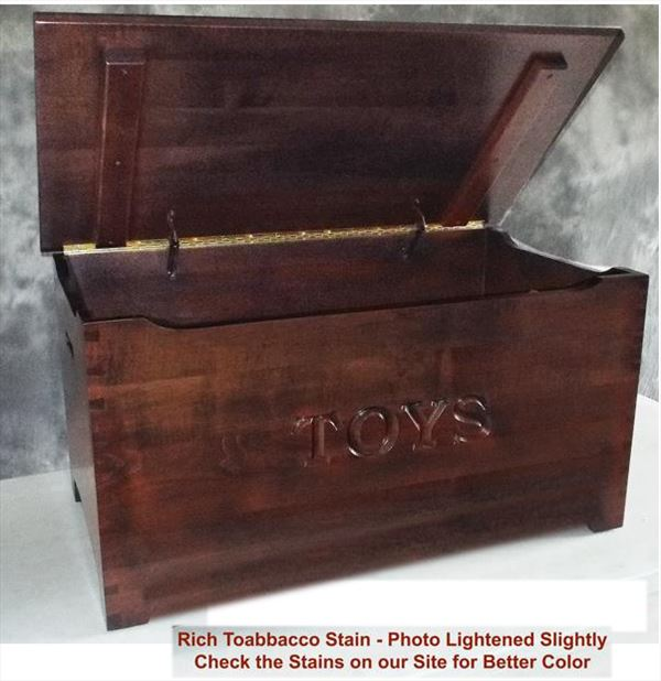 Amish Brown Maple or Quarter Sawn or Oak or Cherry Furniture Shaker Dovetail Toy Box Chest Deluxe Two Safety Hinges