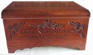 Hardwood Handmade Medium Hope Chest Oak Amish, Love Never Fails & Top Inscription