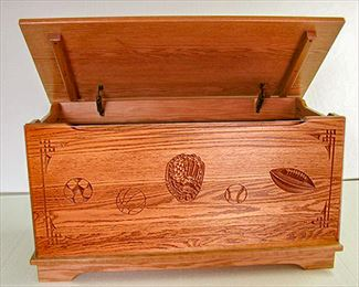 Amish Sports Toy Chest Hardwood Chest Deluxe Two Safety Hinges Personalized