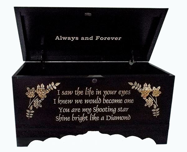 Hope Chest Amish chest Special Verses, Silver Maple, Reverse Lettering Large Onyx Stain