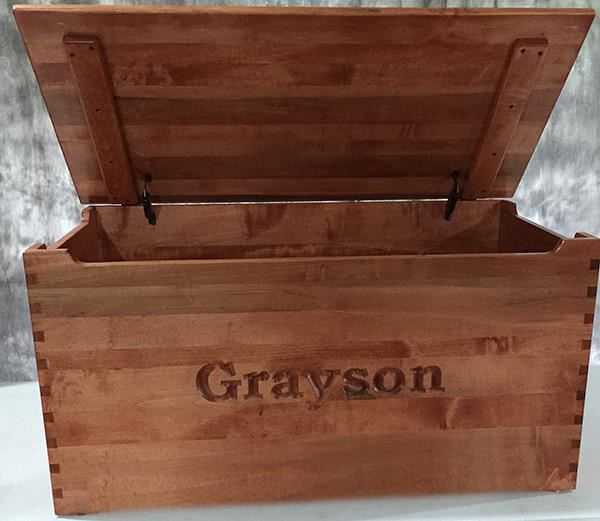Toy Chest Amish chest Name &/or Verse, brown Maple or oak, Dovetail Corners handmade hardwood