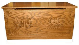 Fire Engine Train Wood Toy Box-Chest-Amish-Carved