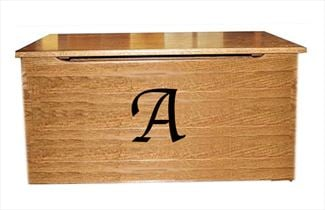 Plain Front with Initial HARDWood Toy Box-Chest-Amish-Carved OAK Amish