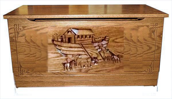 NOAH'S ARK HARDWood Toy Box-Chest-Amish-Carved OAK