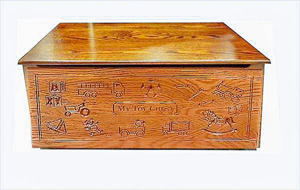 Wood Toy Box-Chest-Amish-Personalized-Carved Oak-Can be Painted!