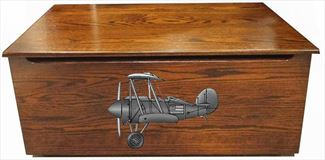 Amish AIRPLANE Front OAK Wood Toy Box-Chest-Amish All Hardwwod Anti-Slam Hinges