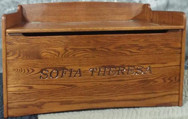 Amish Hardwood OAK Handmade Bench Toy box Solid Oak Chest Two Safety Hinges