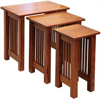 Amish Mission Oak TV Stacking NestingTable Set - Set of Three