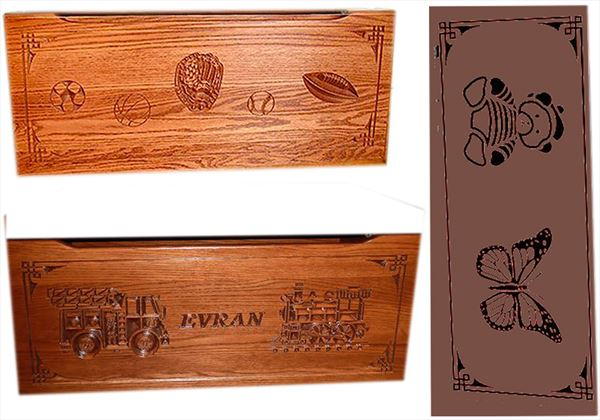 Flat top Toy box Chests with names and theme fronts Oak HARDWood-Carved