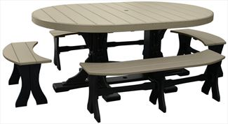 Amish OUTDOOR Furniture Poly Picnic Table & Four Side Benches
