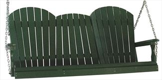 Amish OUTDOOR Furniture Poly Vinyl Adirondack Back PORCH SWING four or five foot